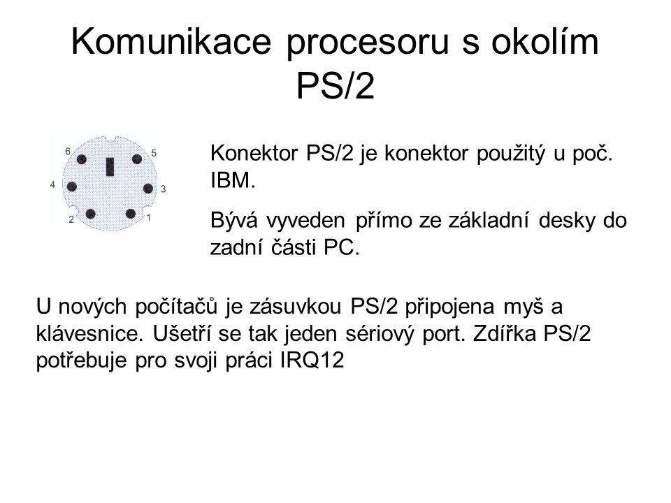 Komunikace procesoru s okolím PS/2 Konektor PS/2 je konektor použitý u poč. IBM. Bývá vyveden přímo ze základní desky do zadní části PC. U nových počí