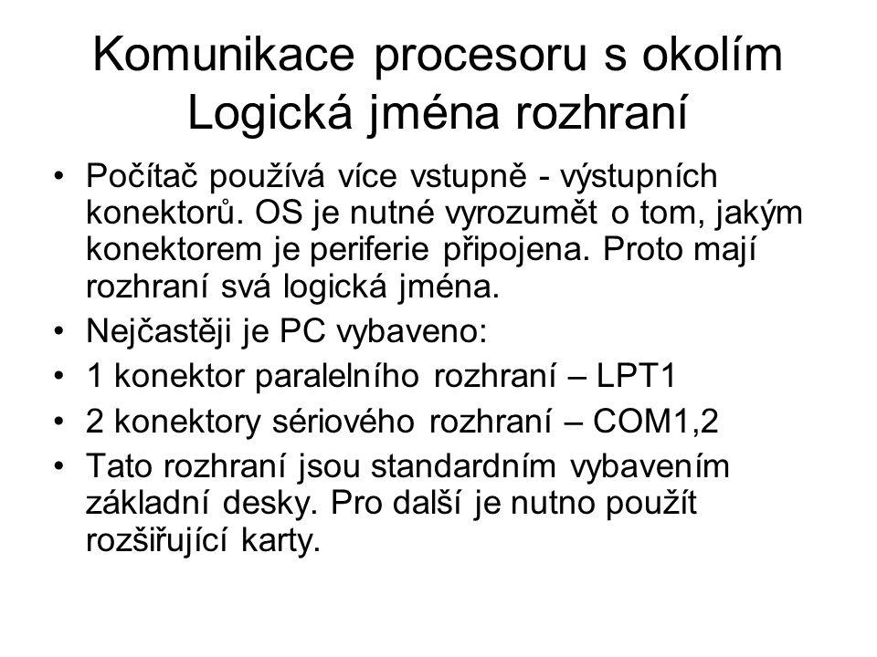 Komunikace procesoru s okolím Logická jména rozhraní Počítač používá více vstupně - výstupních konektorů. OS je nutné vyrozumět o tom, jakým konektore