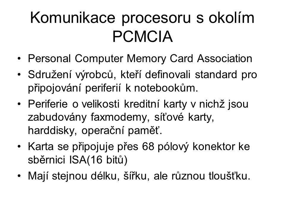 Komunikace procesoru s okolím PCMCIA Personal Computer Memory Card Association Sdružení výrobců, kteří definovali standard pro připojování periferií k