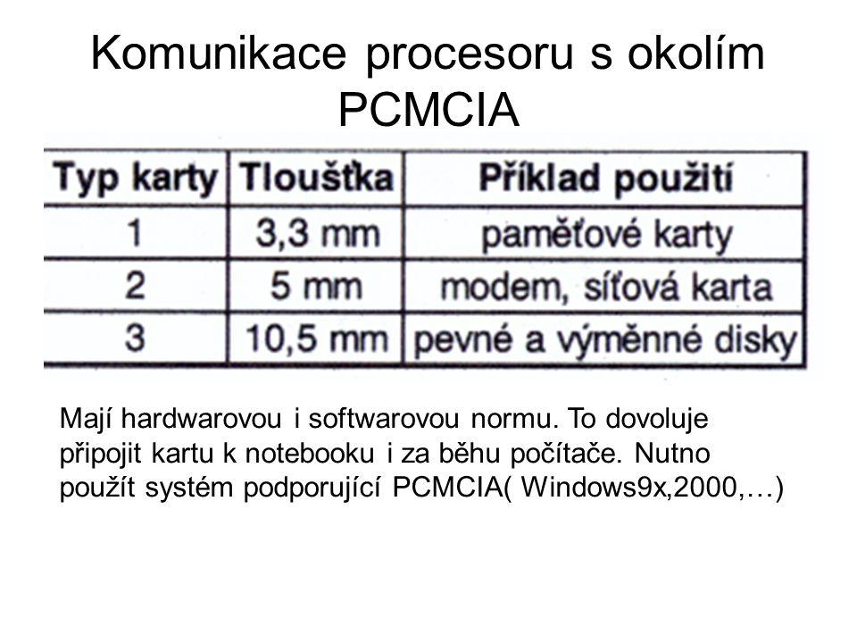 Komunikace procesoru s okolím PCMCIA Mají hardwarovou i softwarovou normu. To dovoluje připojit kartu k notebooku i za běhu počítače. Nutno použít sys