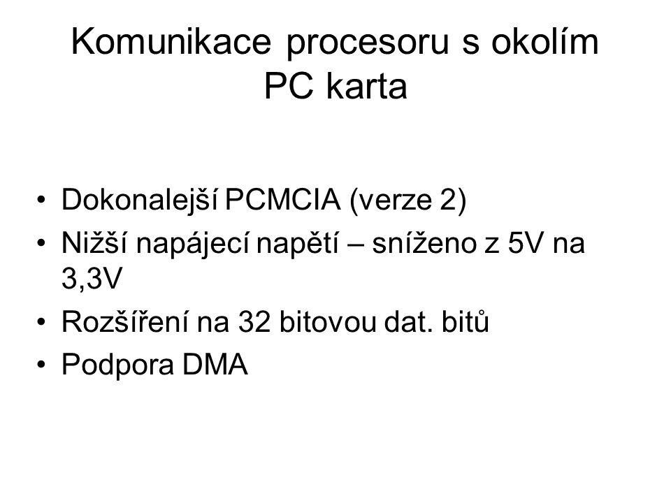 Komunikace procesoru s okolím PC karta Dokonalejší PCMCIA (verze 2) Nižší napájecí napětí – sníženo z 5V na 3,3V Rozšíření na 32 bitovou dat. bitů Pod