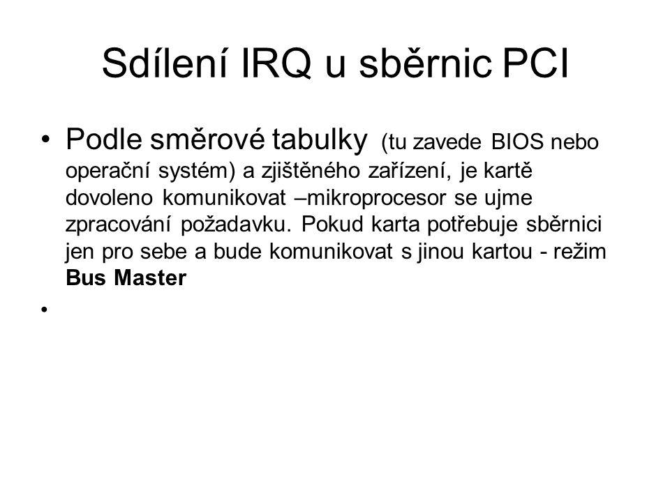 Sdílení IRQ u sběrnic PCI Podle směrové tabulky (tu zavede BIOS nebo operační systém) a zjištěného zařízení, je kartě dovoleno komunikovat –mikroproce