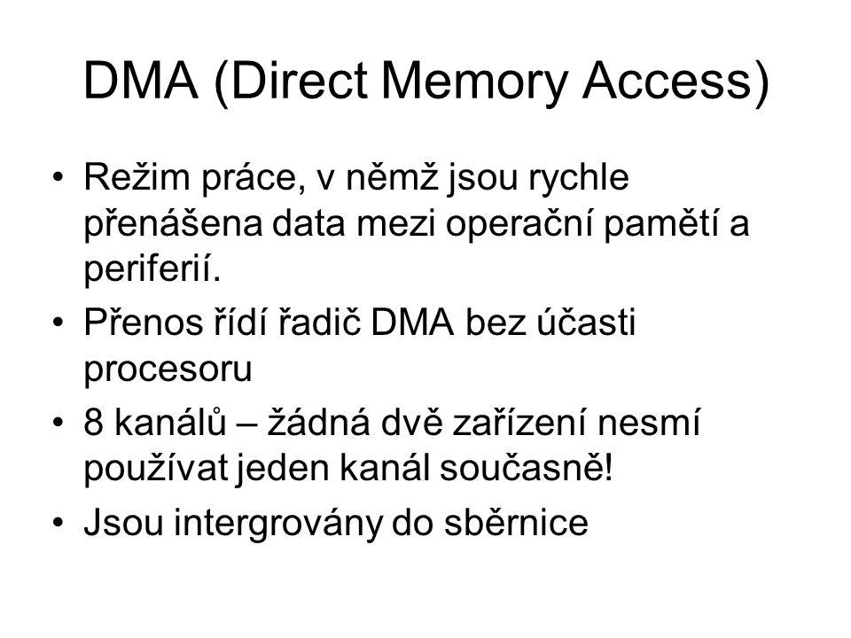 DMA (Direct Memory Access) Režim práce, v němž jsou rychle přenášena data mezi operační pamětí a periferií. Přenos řídí řadič DMA bez účasti procesoru