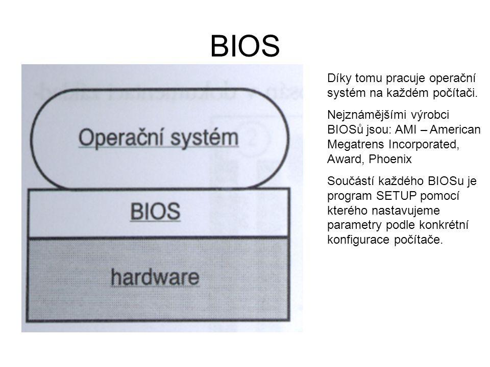 BIOS Díky tomu pracuje operační systém na každém počítači. Nejznámějšími výrobci BIOSů jsou: AMI – American Megatrens Incorporated, Award, Phoenix Sou