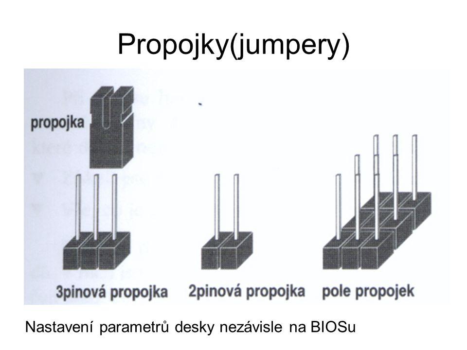 Propojky(jumpery) Nastavení parametrů desky nezávisle na BIOSu