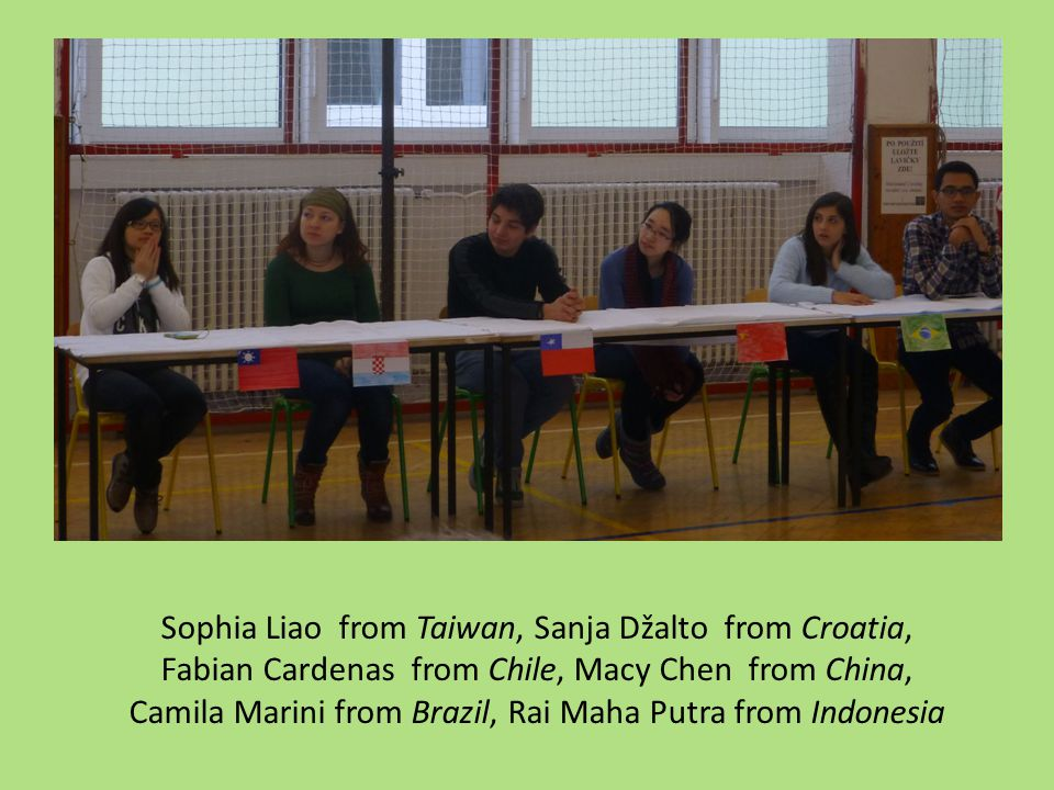 Sophia Liao from Taiwan, Sanja Džalto from Croatia, Fabian Cardenas from Chile, Macy Chen from China, Camila Marini from Brazil, Rai Maha Putra from Indonesia