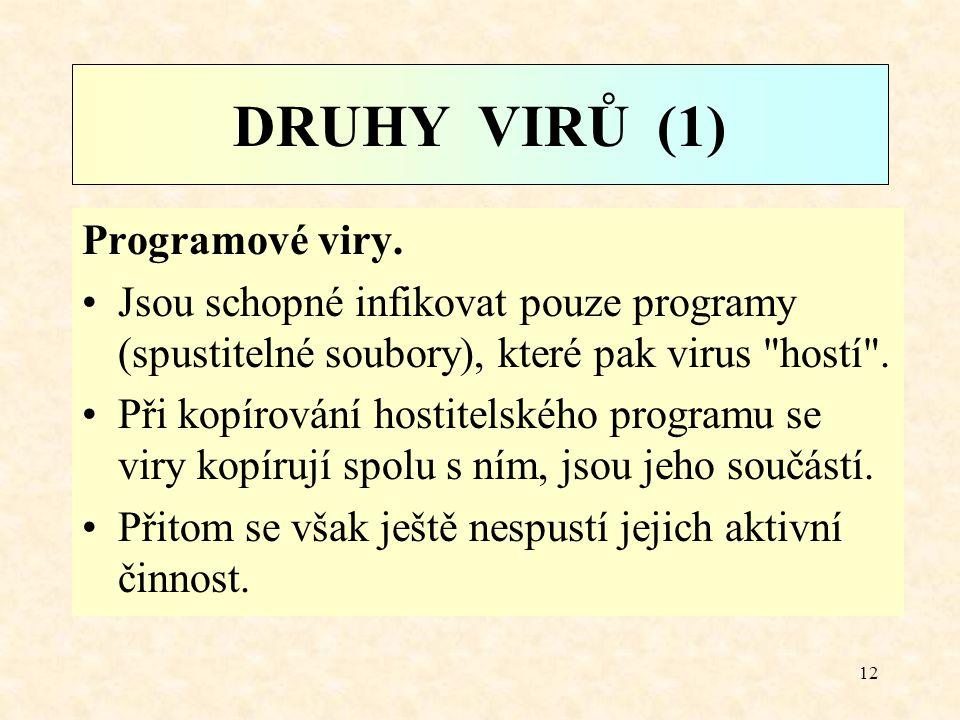11 Podněty ke spuštění akce viru Viry se snaží ukrýt a odložit svůj destruktivní účinek proto, aby mohly infikovat co nejvíce programů. Podmínkami moh
