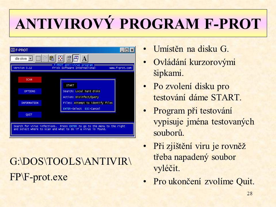 27 Aktualizace systému AVG Proběhne automaticky po zapnutí počítače.