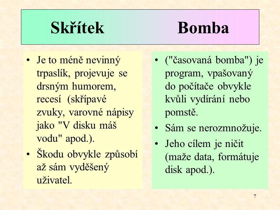 7 Skřítek Bomba ( časovaná bomba ) je program, vpašovaný do počítače obvykle kvůli vydírání nebo pomstě.