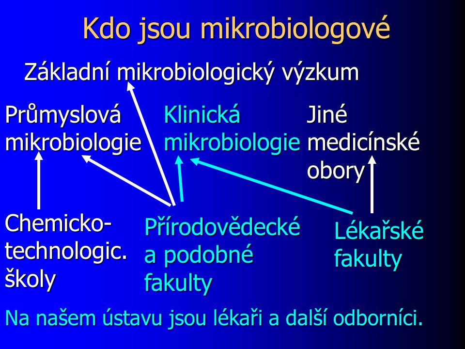 Kdo jsou mikrobiologové Klinická mikrobiologie Průmyslová mikrobiologie Jiné medicínské obory Chemicko- technologic. školy Přírodovědecké a podobné fa