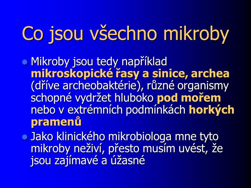 Co jsou všechno mikroby Mikroby jsou tedy například mikroskopické řasy a sinice, archea (dříve archeobaktérie), různé organismy schopné vydržet hlubok