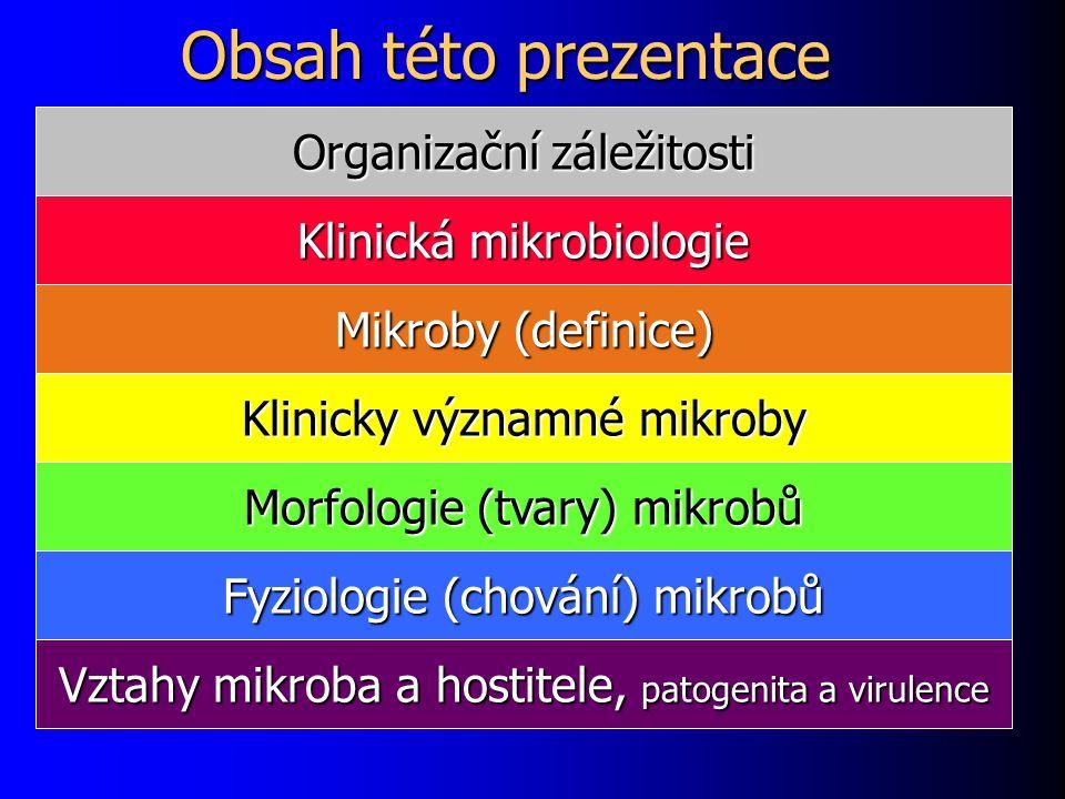 Hlavní klinicky významné mikroby Viry (a priony) Viry (a priony) Bakterie (třeba streptokok nebo Escherichia) Bakterie (třeba streptokok nebo Escherichia) Houby (kvasinky a plísně) Houby (kvasinky a plísně) Paraziti – přesahují pojem mikrob: Paraziti – přesahují pojem mikrob: – Vnitřní paraziti Prvoci (třeba původce malárie) Prvoci (třeba původce malárie) Motolice (třeba motolice jaterní) Motolice (třeba motolice jaterní) Hlístice (třeba roup nebo škrkavka) Hlístice (třeba roup nebo škrkavka) Tasemnice (třeba tasemnice dlouhočlenná) Tasemnice (třeba tasemnice dlouhočlenná) – Vnější paraziti (vši, blechy, štěnice)