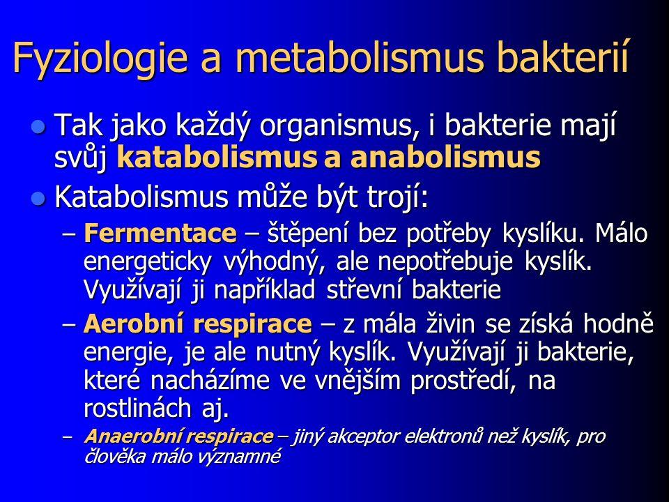 Fyziologie a metabolismus bakterií Tak jako každý organismus, i bakterie mají svůj katabolismus a anabolismus Tak jako každý organismus, i bakterie ma