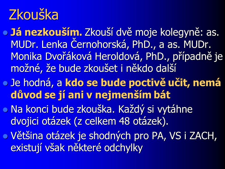 Zkouška Já nezkouším. Zkouší dvě moje kolegyně: as. MUDr. Lenka Černohorská, PhD., a as. MUDr. Monika Dvořáková Heroldová, PhD., případně je možné, že