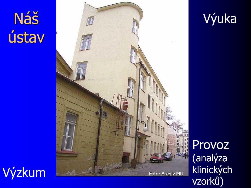 Náš ústav Provoz (analýza klinických vzorků) Výuka Výzkum Foto: Archiv MU