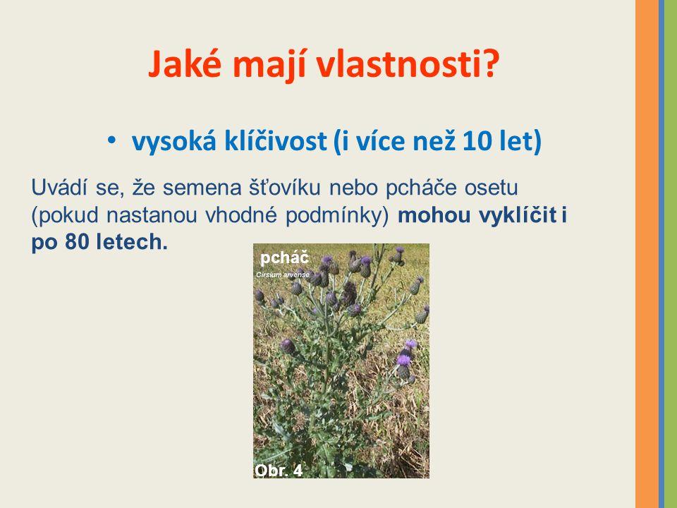 Jaké mají vlastnosti? vysoká klíčivost (i více než 10 let) Uvádí se, že semena šťovíku nebo pcháče osetu (pokud nastanou vhodné podmínky) mohou vyklíč