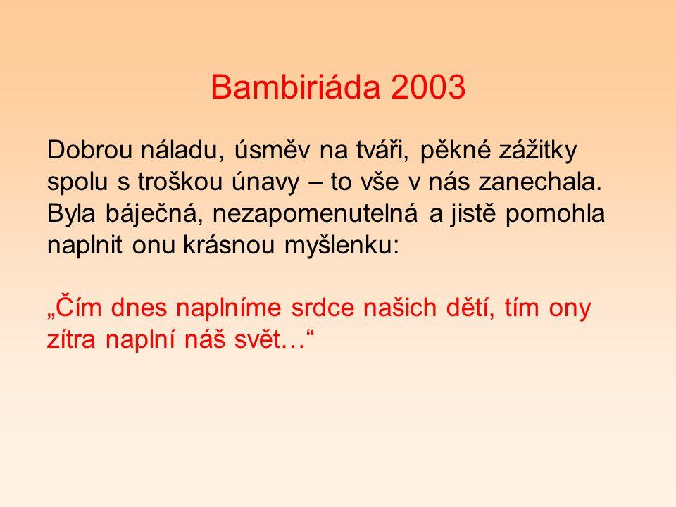Bambiriáda 2003 Dobrou náladu, úsměv na tváři, pěkné zážitky spolu s troškou únavy – to vše v nás zanechala.