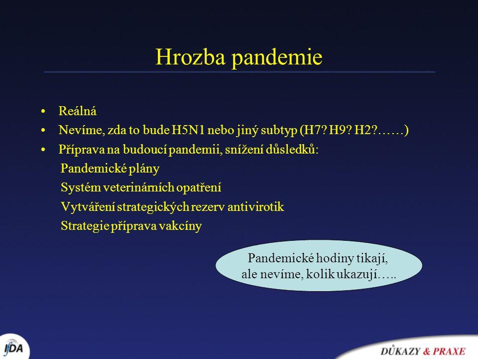 Hrozba pandemie Reálná Nevíme, zda to bude H5N1 nebo jiný subtyp (H7? H9? H2?……) Příprava na budoucí pandemii, snížení důsledků: Pandemické plány Syst