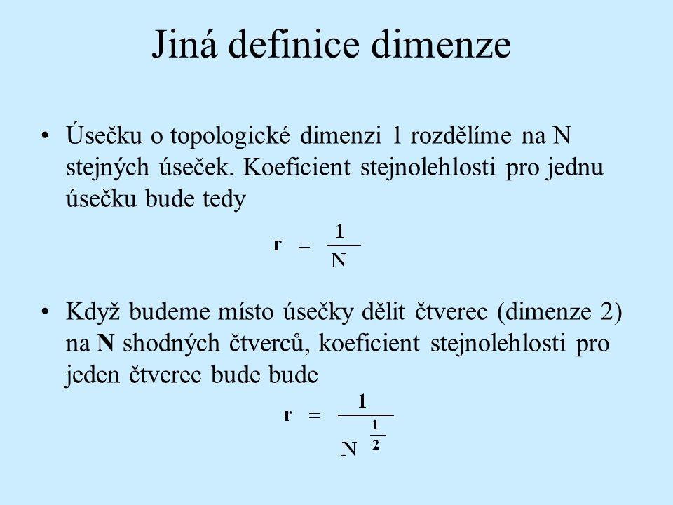 Úsečku o topologické dimenzi 1 rozdělíme na N stejných úseček. Koeficient stejnolehlosti pro jednu úsečku bude tedy Když budeme místo úsečky dělit čtv