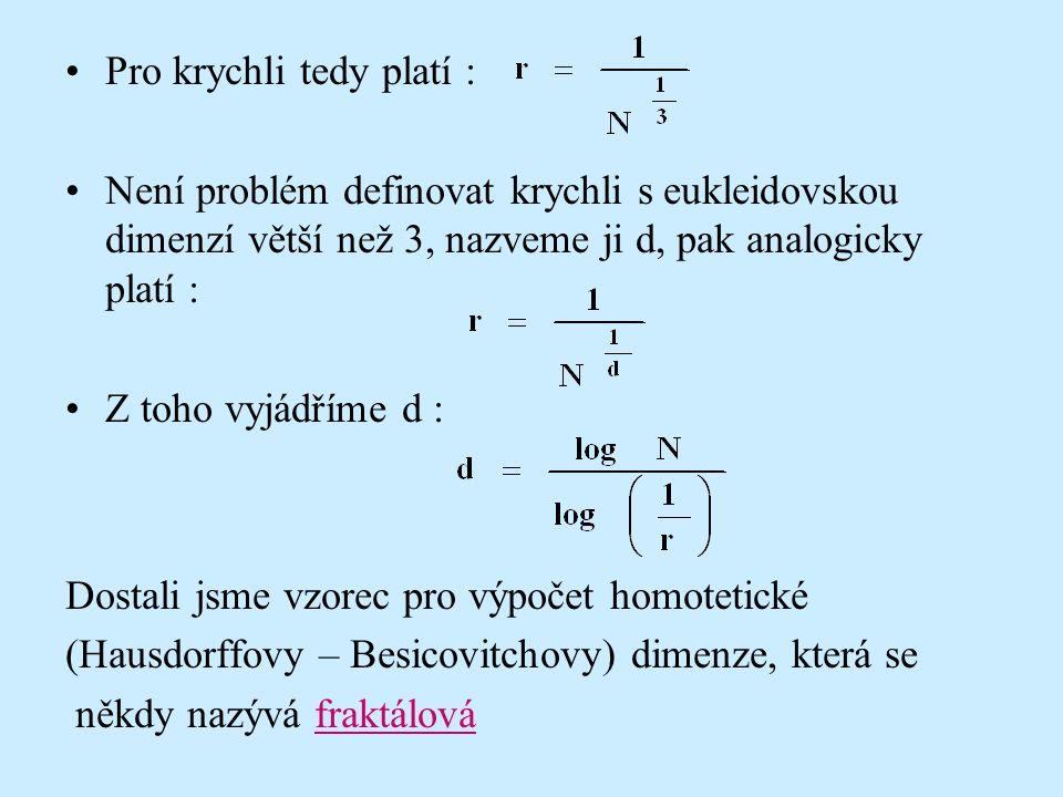 Pro krychli tedy platí : Není problém definovat krychli s eukleidovskou dimenzí větší než 3, nazveme ji d, pak analogicky platí : Z toho vyjádříme d :