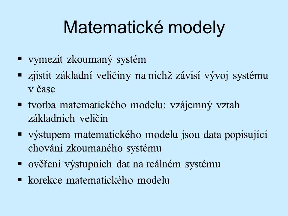 Matematické modely  vymezit zkoumaný systém  zjistit základní veličiny na nichž závisí vývoj systému v čase  tvorba matematického modelu: vzájemný