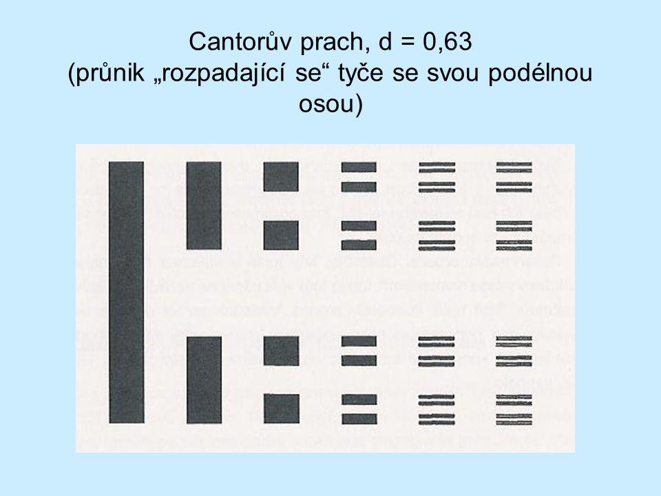 """Cantorův prach, d = 0,63 (průnik """"rozpadající se"""" tyče se svou podélnou osou)"""