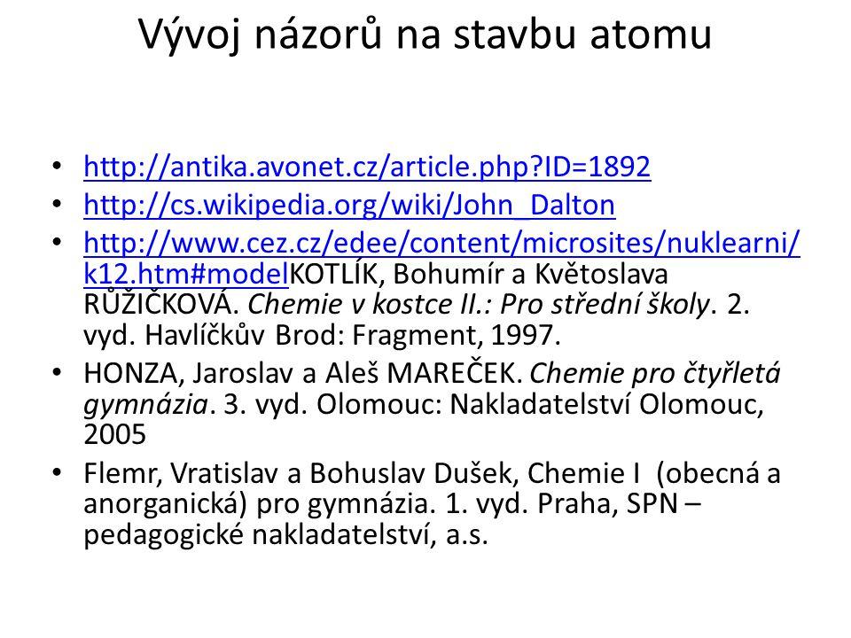 Vývoj názorů na stavbu atomu http://antika.avonet.cz/article.php ID=1892 http://cs.wikipedia.org/wiki/John_Dalton http://www.cez.cz/edee/content/microsites/nuklearni/ k12.htm#modelKOTLÍK, Bohumír a Květoslava RŮŽIČKOVÁ.