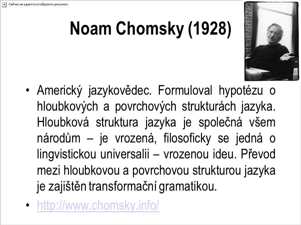 Noam Chomsky (1928) Americký jazykovědec. Formuloval hypotézu o hloubkových a povrchových strukturách jazyka. Hloubková struktura jazyka je společná v