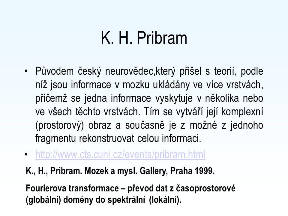K. H. Pribram Původem český neurovědec,který přišel s teorií, podle níž jsou informace v mozku ukládány ve více vrstvách, přičemž se jedna informace v