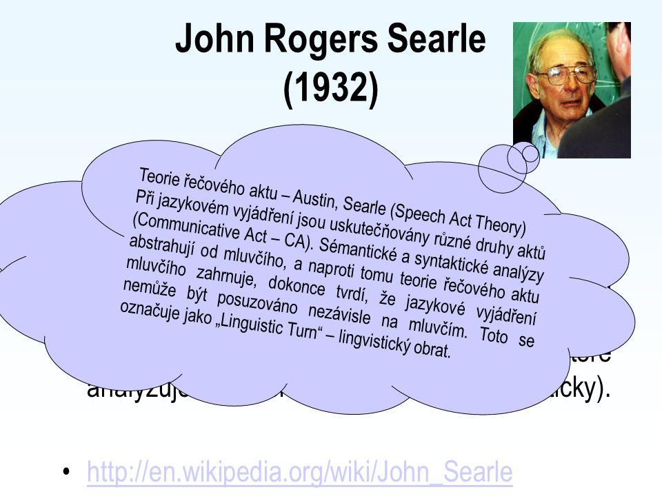 John Rogers Searle (1932) Anglický filosof, orientovaný na filosofii přirozeného jazyka (žák J. L. Austina), především na teorii mluvních aktů, které