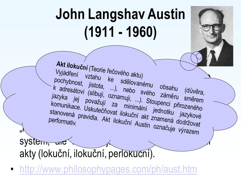 John Langshav Austin (1911 - 1960) Anglický filosof. Představitel lingvistického fenomenalismu. Snažil se vysvětlit fungování přirozeného jazyka (niko