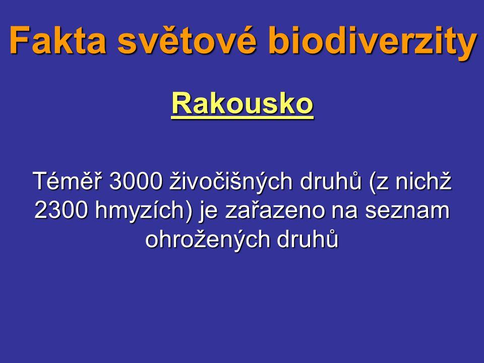 Rakousko Téměř 3000 živočišných druhů (z nichž 2300 hmyzích) je zařazeno na seznam ohrožených druhů Fakta světové biodiverzity