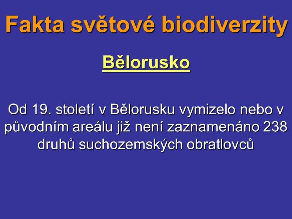 Bělorusko Od 19. století v Bělorusku vymizelo nebo v původním areálu již není zaznamenáno 238 druhů suchozemských obratlovců Fakta světové biodiverzit