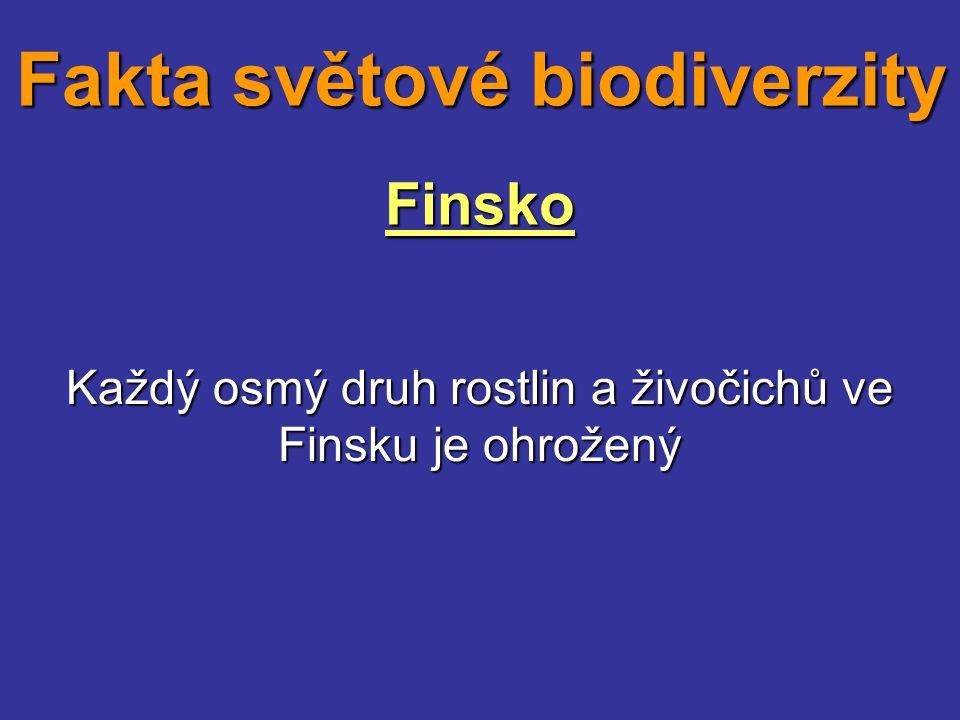 Finsko Každý osmý druh rostlin a živočichů ve Finsku je ohrožený Fakta světové biodiverzity