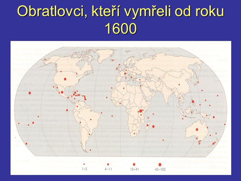 Obratlovci, kteří vymřeli od roku 1600