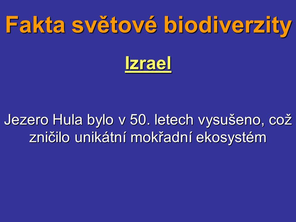 Izrael Jezero Hula bylo v 50. letech vysušeno, což zničilo unikátní mokřadní ekosystém Fakta světové biodiverzity
