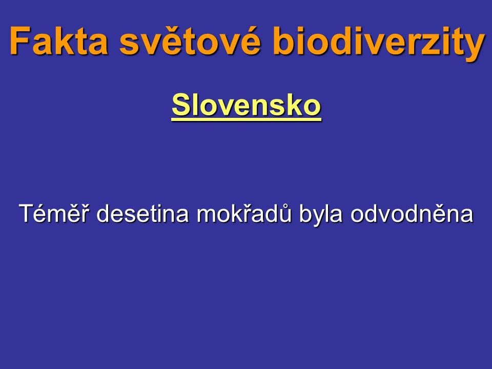 Slovensko Téměř desetina mokřadů byla odvodněna Fakta světové biodiverzity