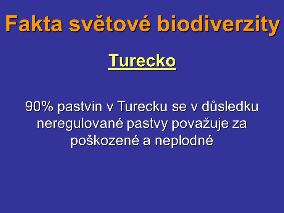 Turecko 90% pastvin v Turecku se v důsledku neregulované pastvy považuje za poškozené a neplodné Fakta světové biodiverzity