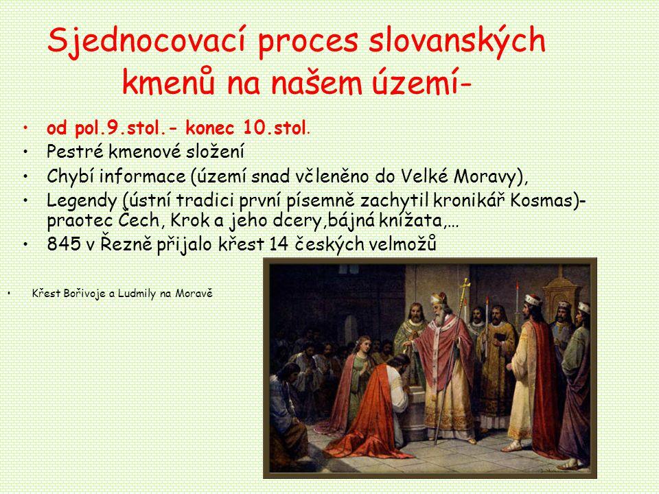 Sjednocovací proces slovanských kmenů na našem území- od pol.9.stol.- konec 10.stol.