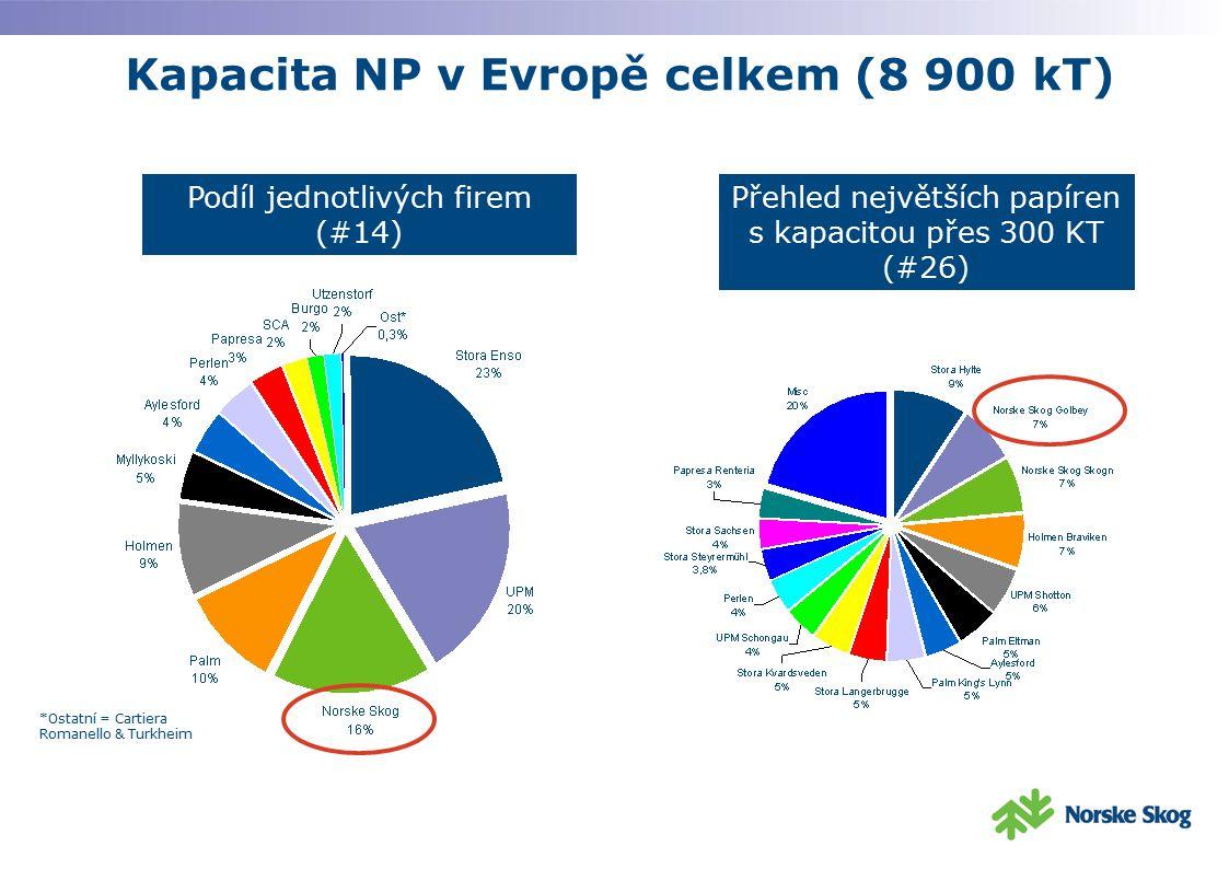 Kapacita NP v Evropě celkem (8 900 kT) Podíl jednotlivých firem (#14) *Ostatní = Cartiera Romanello & Turkheim Přehled největších papíren s kapacitou
