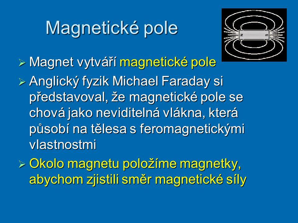 Magnetické pole  Magnet vytváří magnetické pole  Anglický fyzik Michael Faraday si představoval, že magnetické pole se chová jako neviditelná vlákna