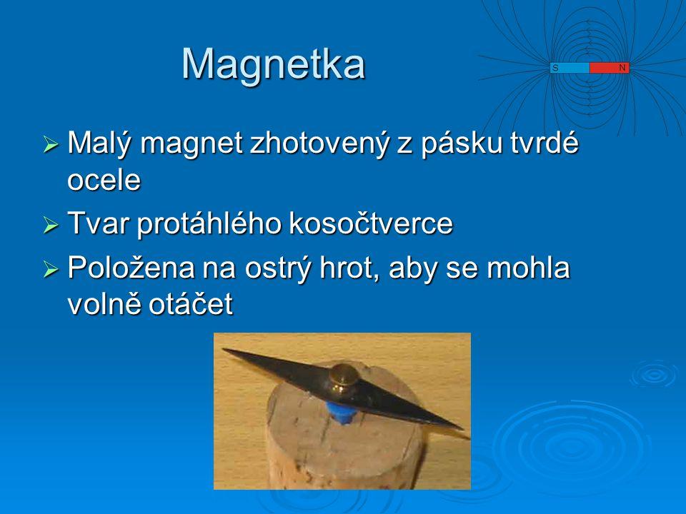 Magnetka  Malý magnet zhotovený z pásku tvrdé ocele  Tvar protáhlého kosočtverce  Položena na ostrý hrot, aby se mohla volně otáčet