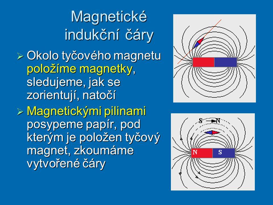 Magnetické indukční čáry  Okolo tyčového magnetu položíme magnetky, sledujeme, jak se zorientují, natočí  Magnetickými pilinami posypeme papír, pod