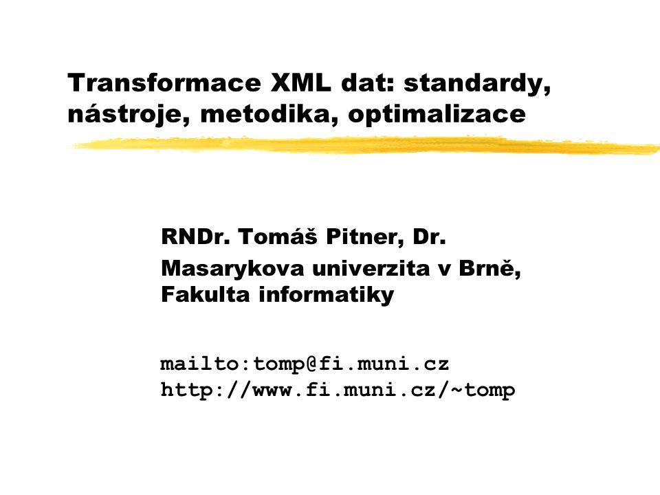 XSLT procesory zXSLT procesor je stroj, jenž dokáže zna základě předloženého stylu (tedy kolekce šablon), zparametrů tohoto stylu a zdalších nastavení ztransformovat předložený vstupní XML dokument (nebo dokumenty) zpodle pravidel daných šablonami na jeden či více výstupních dokumentů.