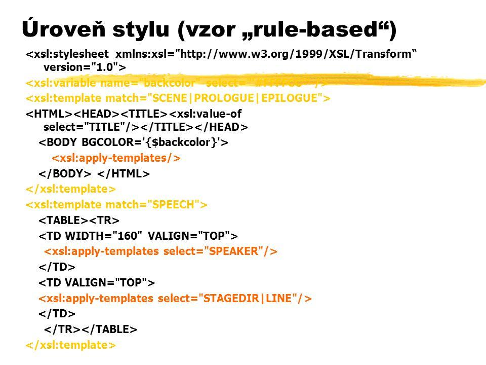 """Úroveň stylu (vzor """"rule-based )"""