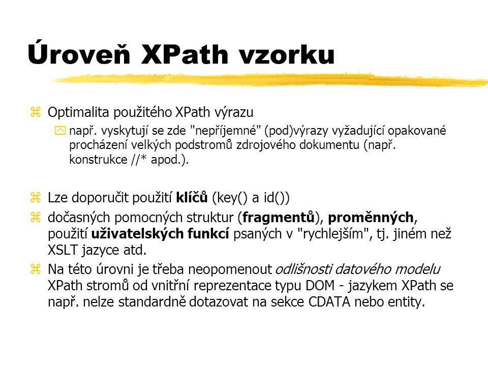 Úroveň XPath vzorku zOptimalita použitého XPath výrazu ynapř.