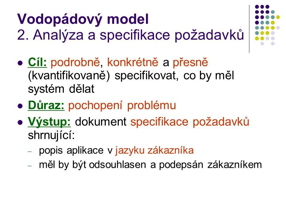 Vodopádový model 2. Analýza a specifikace požadavků Cíl: podrobně, konkrétně a přesně (kvantifikovaně) specifikovat, co by měl systém dělat Důraz: poc
