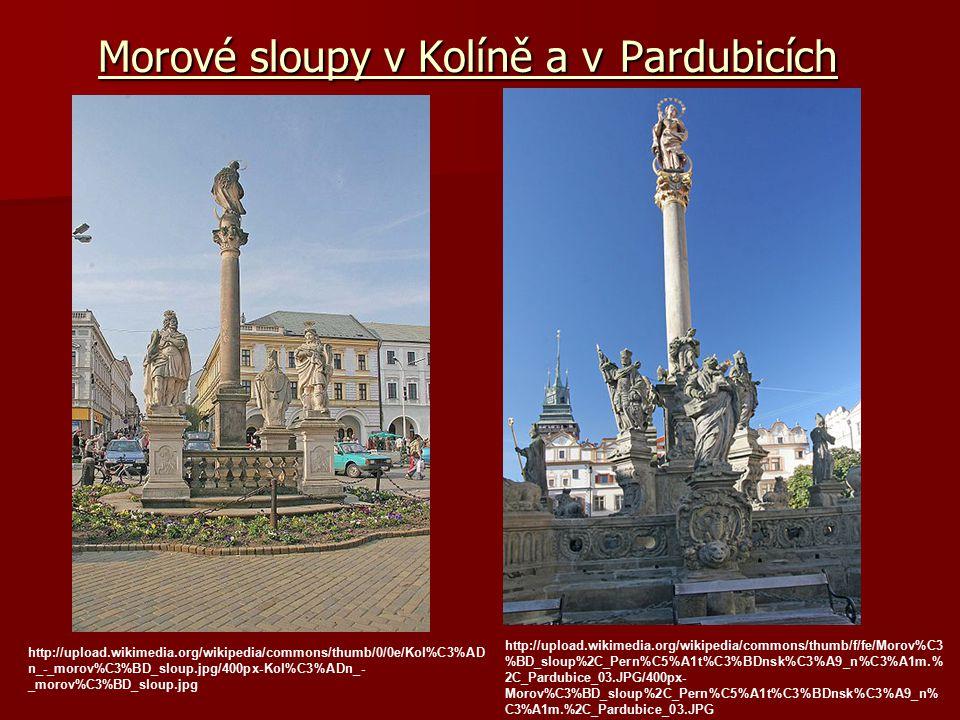 Morové sloupy v Kolíně a v Pardubicích http://upload.wikimedia.org/wikipedia/commons/thumb/0/0e/Kol%C3%AD n_-_morov%C3%BD_sloup.jpg/400px-Kol%C3%ADn_-