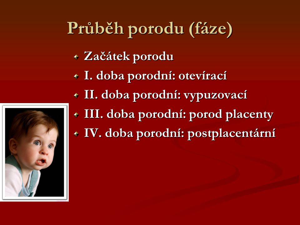 Průběh porodu (fáze) Začátek porodu I. doba porodní: otevírací II. doba porodní: vypuzovací III. doba porodní: porod placenty IV. doba porodní: postpl