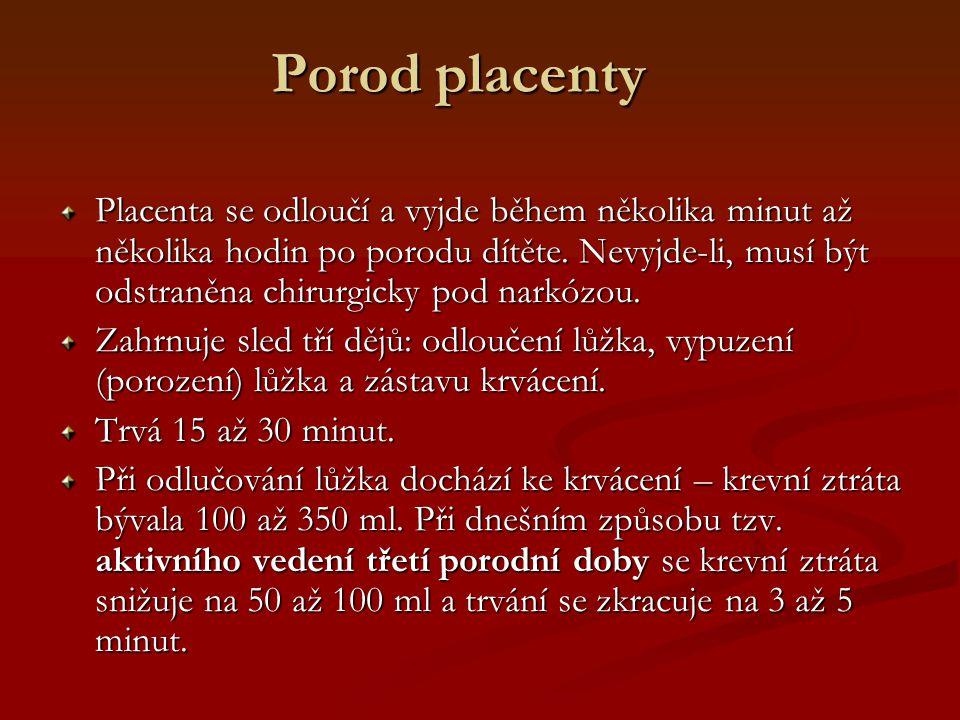 Porod placenty Placenta se odloučí a vyjde během několika minut až několika hodin po porodu dítěte. Nevyjde-li, musí být odstraněna chirurgicky pod na